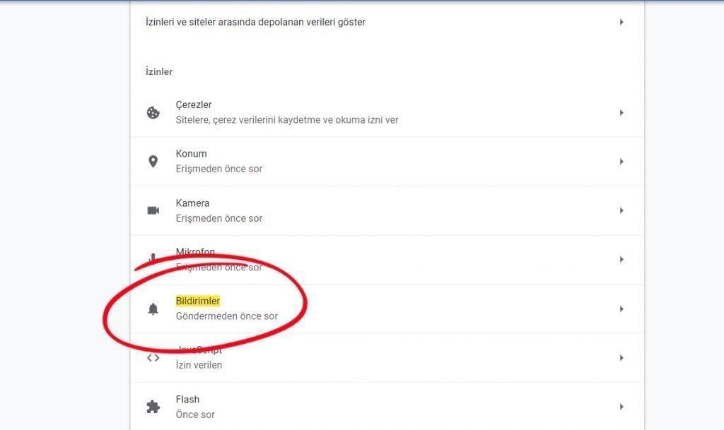 Chrome bildirimleri açma veya kapatma 3