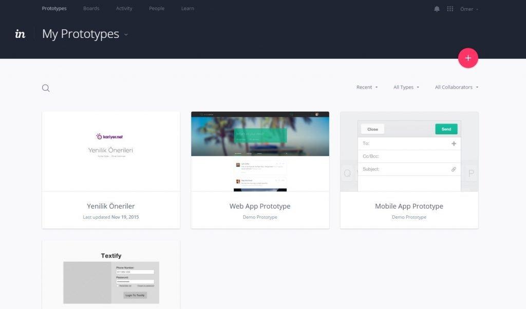 UI / UX Prototip Hazırlama Aracı: Invisionapp 1
