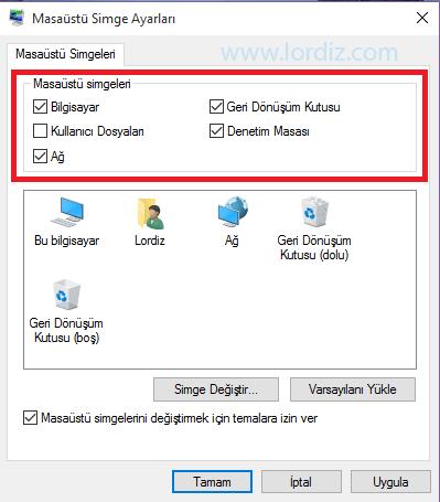 Windows 10'da Bilgisayarım Simgesini Masaüstüne Getirme 2