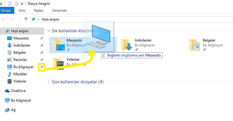 Windows 10'da Bilgisayarım Simgesini Masaüstüne Getirme